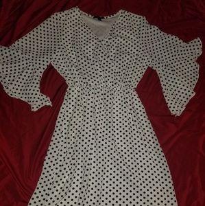 Women's Black & White Polka-dot Dress. Size PL